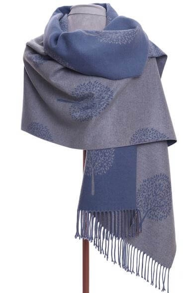 Wrap scarf in grey and blue