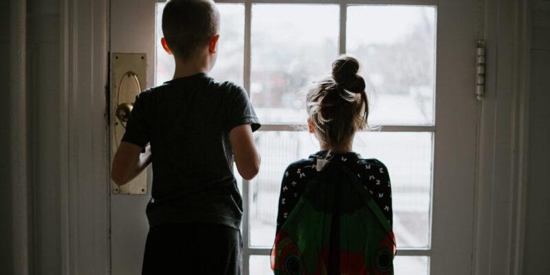 Two children stuck indoors