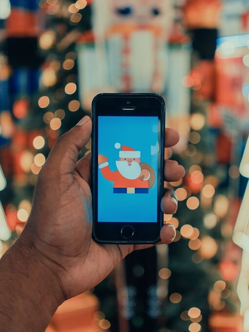 Picture of Santa Claus on phone