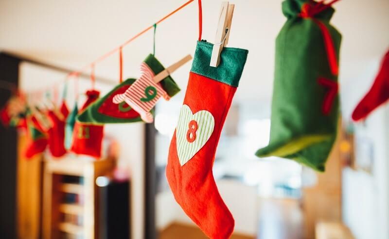 Advent calendar of small felt stockings