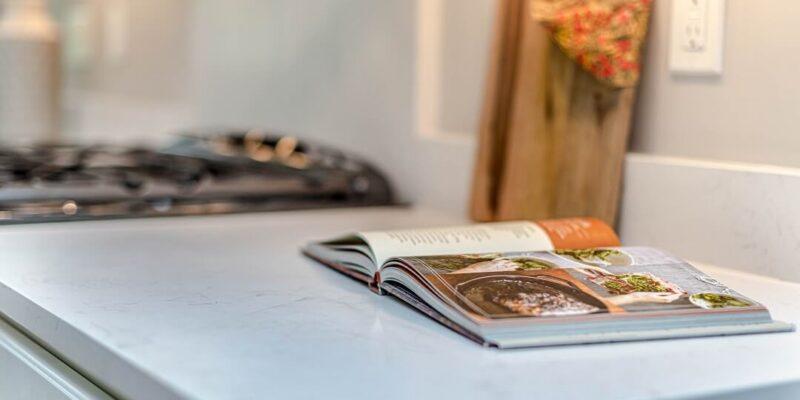 Cookbook on kitchen counter