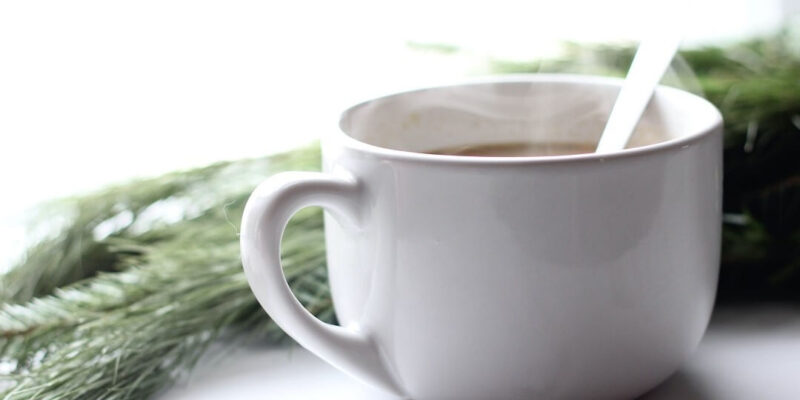 Coffee cup steaming beside pine tree branch