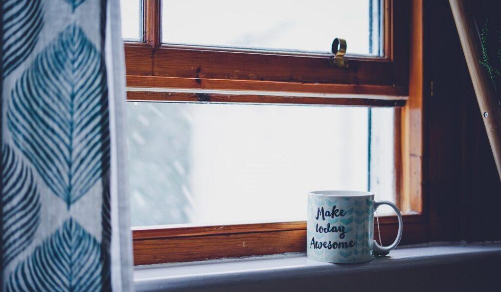 Make Monday better mug on windowsill