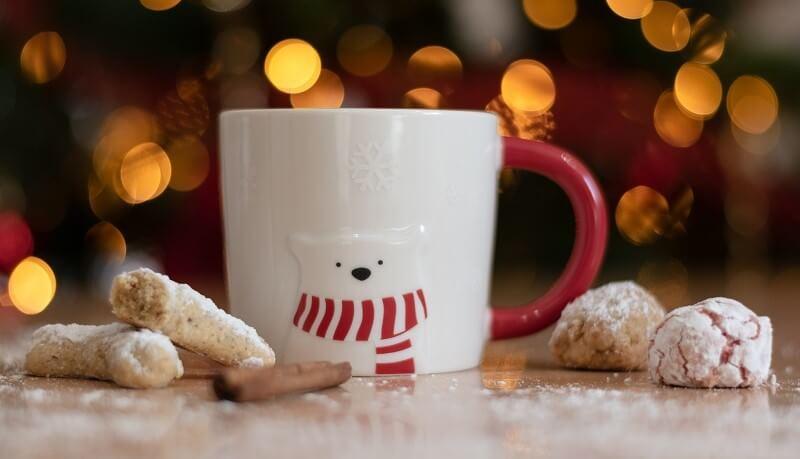 Christmas mug and cookies
