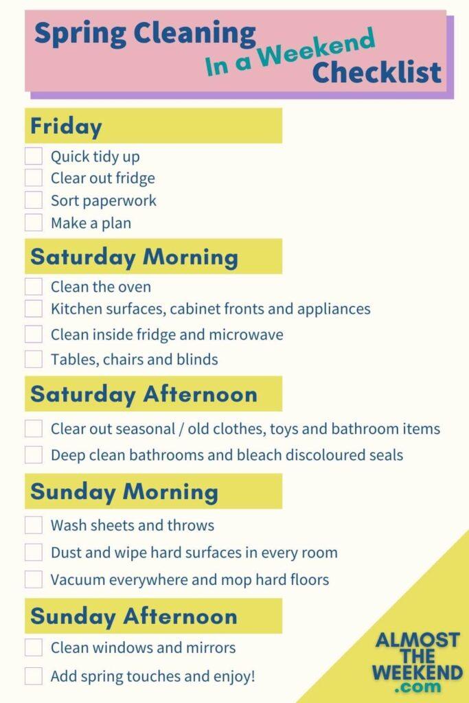 Spring clean in a weekend checklist