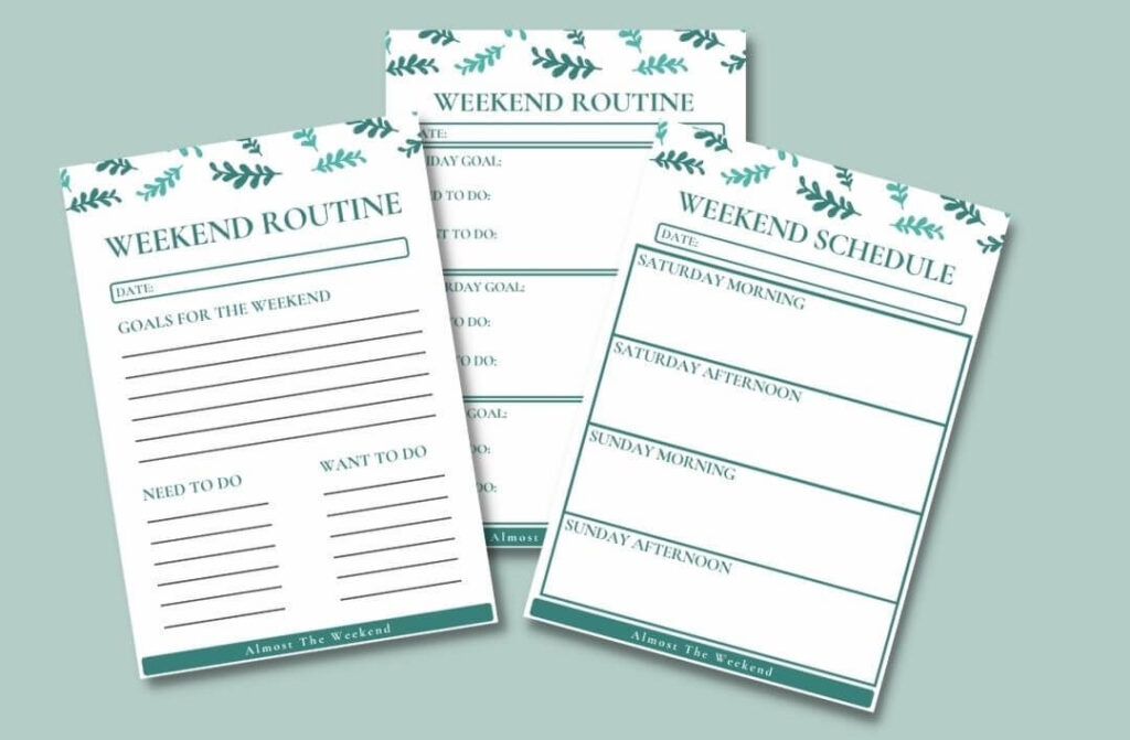Screenshot demonstrating the Weekend Routine printable for download